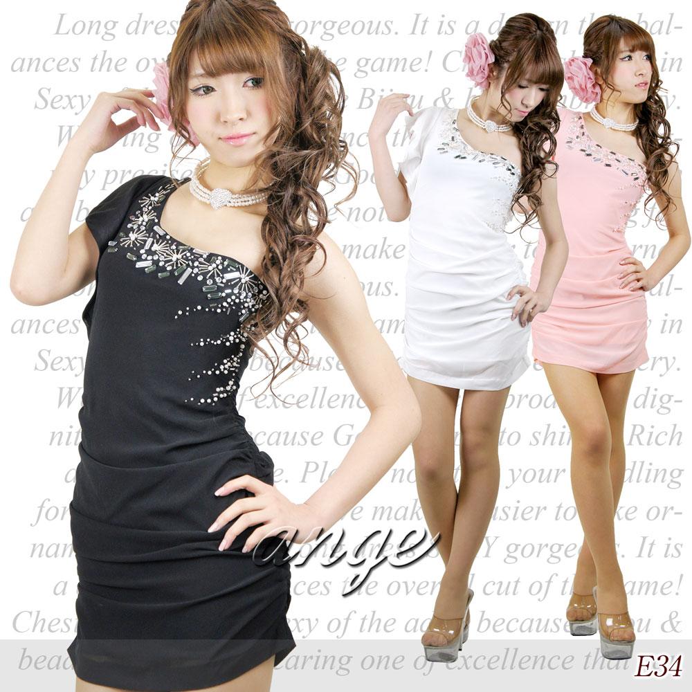 キャバドレス/シフォン胸元パールビジュ ワンショルショートドレス