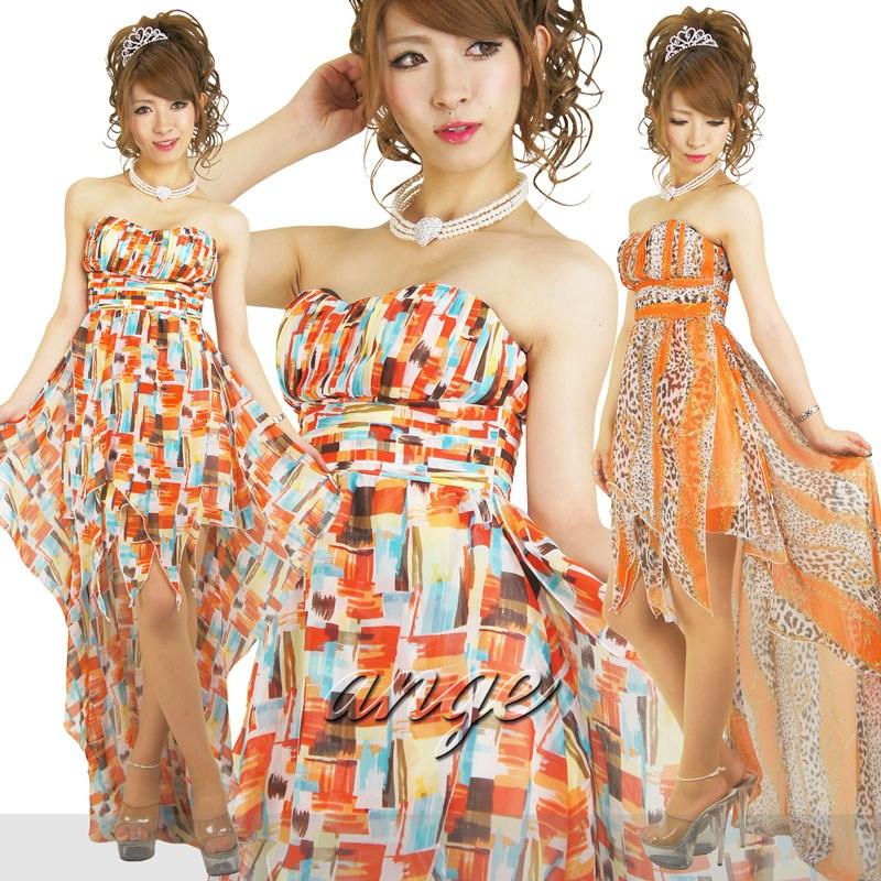 キャバドレス/シフォン柄ショートinベアロングドレス