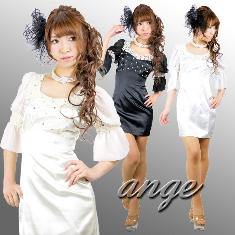 キャバドレス/シフォンスリーブ胸元ビジュタイトミニドレス