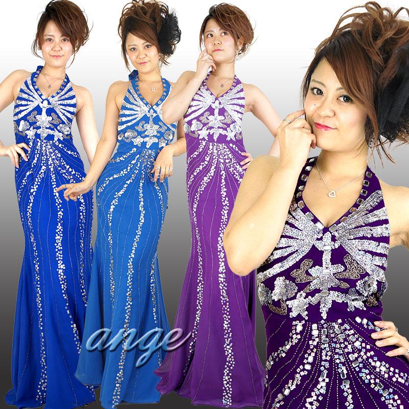 キャバドレス/シフォン ホルターネック ビーズ&スパン ゴージャスドレス