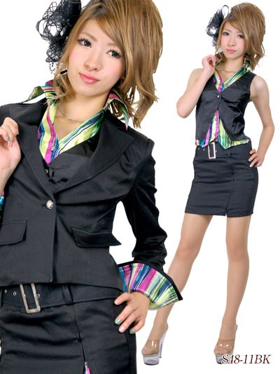キャバスーツ/レインボーストライププリントベストシャツ付きスーツ
