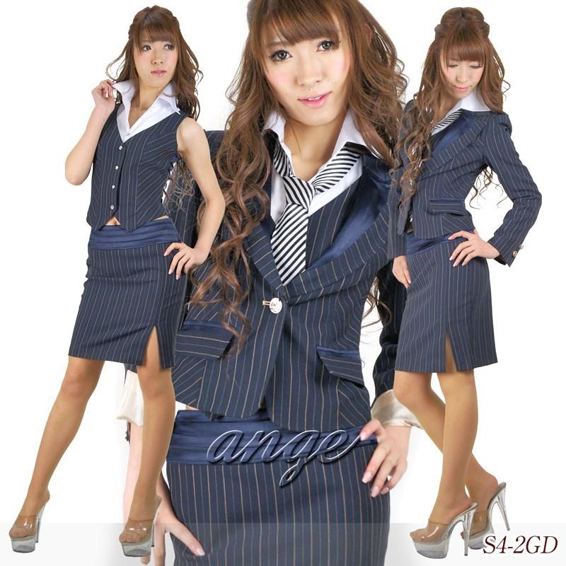 【送料無料】キャバスーツ/ネクタイ&ベストシャツ付き ストライプスーツ☆ゴールド