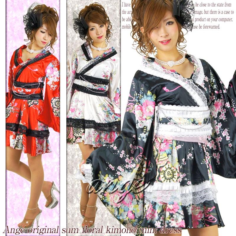 キャバドレス/SILVERチェーン&レース付き♪和柄ふりふり花魁ドレス 着物風サテンワンピース