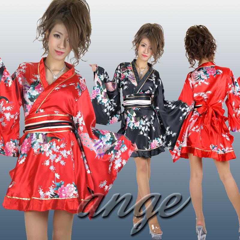 キャバドレス/ひらひら サテン和柄 ミニ花魁着物ドレス