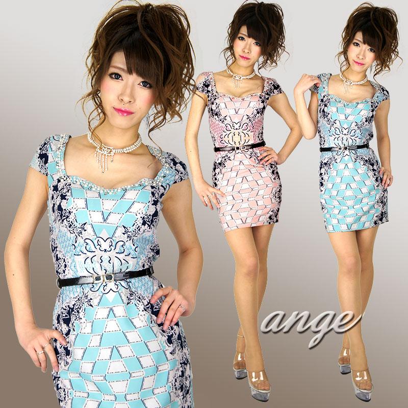 キャバドレス/ゴシック柄袖付きタイトミニ ベルト付セレブワンピドレス