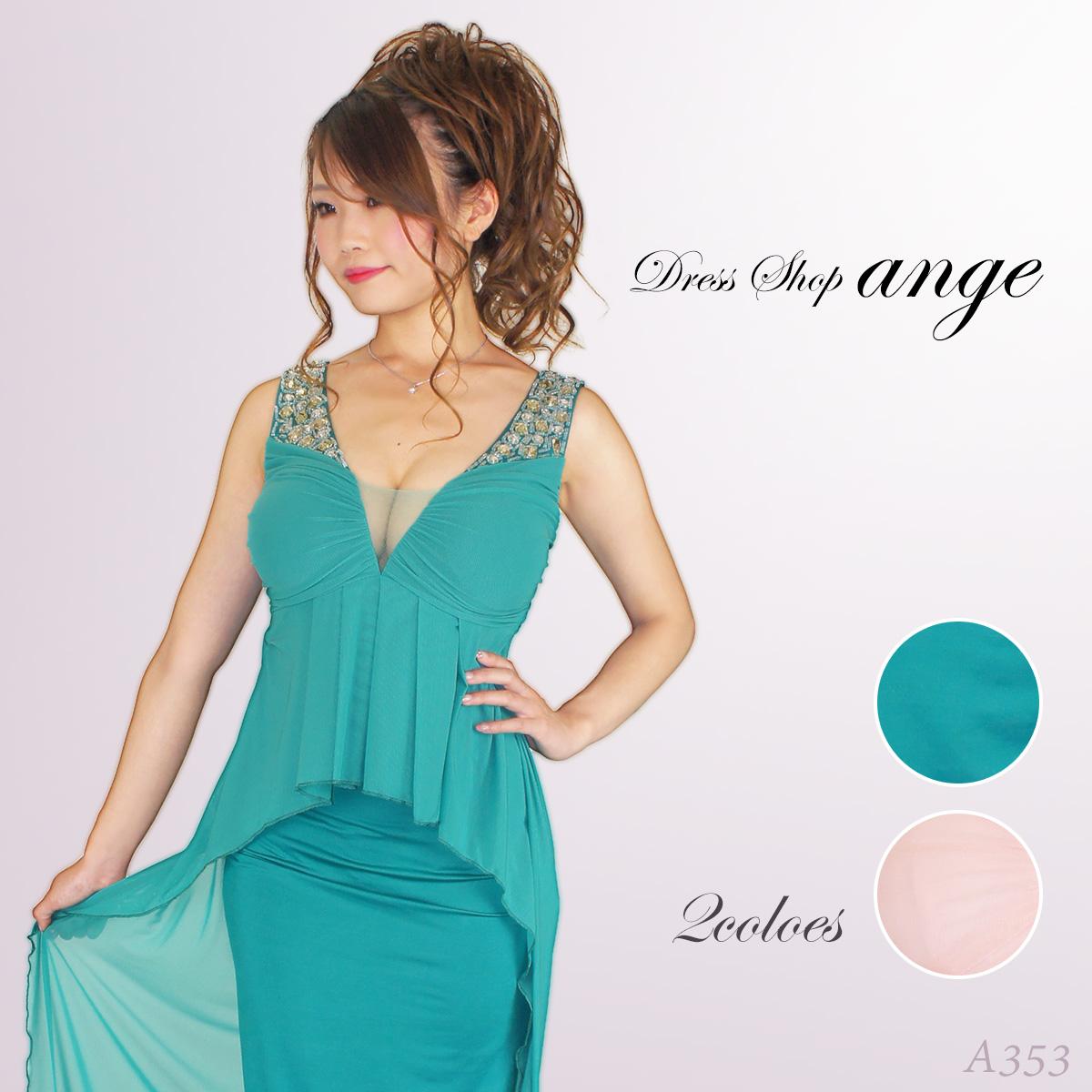 胸元メッシュぺプラムタイトロングドレス